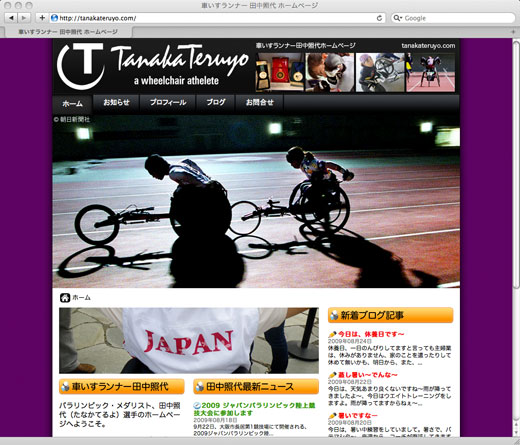 Web Screenshot of Tanaka Teruyo web site